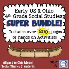 US & OHIO Social Studies SUPER bundle of hands on activities, reader's theaters, content vocabulary, games, assessments, and so much more!! Save over 35% when purchasing as a bundle! https://www.teacherspayteachers.com/Product/Early-United-States-Ohio-Social-Studies-Intermediate-Super-Bundle-2084895