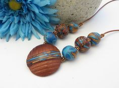 Polymer Clay Necklace  Bronze and Turquoise by OrbObsession