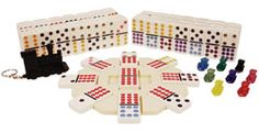Mexican Train -- get yourself a set of double twelve dominoes and print up these rules.  This game is one of our favorites, both for game nights and camping trips!