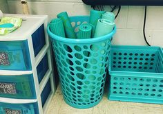 Alternative Seating in the Classroom. Buy cheap yoga mats and cut them in half. Place them inside a plastic clothes hamper. Students can use them for sitting on the floor or to outline their particular space.