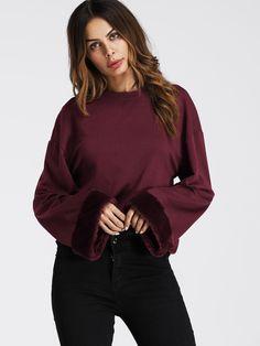 b546d435311 Faux Fur Cuff Drop Shoulder Raw Hem Sweatshirt -SheIn(Sheinside) Burgundy  Outfit
