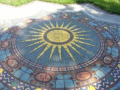 Beautiful mosaic of Sun and Zodiac signs. On walkway toward Ca d'Za mansion at Ringling Museum, Sarasota, Florida