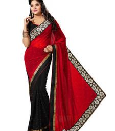 Buy Black and red color faux georgette saree with blouse Online