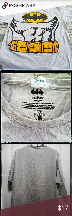 Batman: Gray Men's Graphic Tee Men's Batman XL gray graphic t-shirt. In pre-loved condition with no stains or tears.  Size: XL Shirts Tees - Short Sleeve