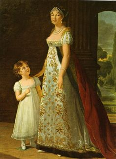 1807年、フランスの女流画家エリザベート=ルイーズ・ヴィジェ=ルブランによるナポレオンの妹カロリーヌ・ボナパルトと娘レティシアの肖像画。当時、子供は「小さい大人」と考えられ、コルセットなども含め大人と同型の服を着用していた。