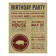 Rustic Burlap BBQ Birthday Party Postcards