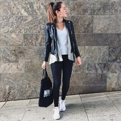 Favorite Combo: Black Skinny Jeans, White Shirt, Grey Knit Cardigan & Fake Leather Jacket with White Converse