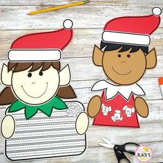 Are you looking for Christmas lessons, ideas or activities for Kindergarten, First or Second grades? Your students will thorougly enjoy this little boy and girl elf in which he/she must cut and glue and then complete name practice or respond through writing. Preschool Classroom, Kindergarten Classroom, Kindergarten Activities, Writing Activities, Preschool Crafts, Little Boy And Girl, Little Boys, Boy Or Girl, First Grade Crafts