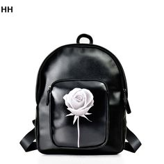 Black woman bag backpack is made of high quality PU leather fashion for fall/winter white roses girls waterproof backpack bag