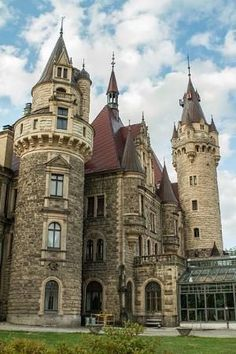 Moszna Castle located in the small village of Moszna in Poland. The architectural style is Gothic, Baroque. The history of this enormous palace begins in the century and contains 365 rooms and 99 spires. Castle Ruins, Castle House, Medieval Castle, Beautiful Castles, Beautiful Buildings, Beautiful Places, Beautiful Pictures, Palaces, Belle Villa