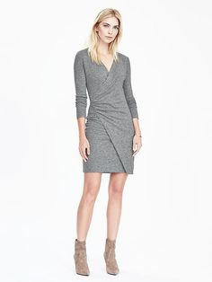 faux wrap dress, wish there were more colors than black, gray, and navy... I own too much of those already