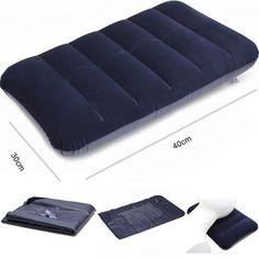 Outdoor Portable Inflatable Pillow For Car Travel Camping Blue Comfortable Air Cushion Rest Pillows 40 x 30 x 3cm Sleep Headrest