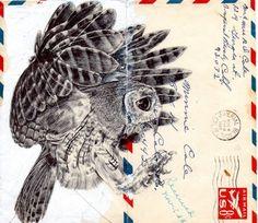 Pen Portraits On Vintage Envelopes by Mark Powell