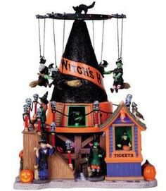 halloween village lighted houses
