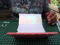 Dit is een leuke schuifkaart om te maken. In de video is goed te zien hoe hij gemaakt wordt. Het karton is 28-15 cm. Dit wordt in 3 vakken verdeeld en met de inkepingen en het plakken van een strookje plastic, dit kan uit een plastic zakje worden geknipt, is de kaart al bijna klaar.