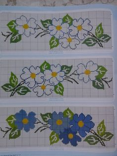Here you can look and cross-stitch your own flowers. Wedding Cross Stitch Patterns, Cross Stitch Borders, Cross Stitch Rose, Cross Stitch Flowers, Cross Stitch Designs, Cross Stitching, Cross Stitch Embroidery, Embroidery Patterns, Hand Embroidery