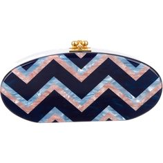 Pre-owned Edie Parker Edie Chevron Clutch (7.835 ARS) ❤ liked on Polyvore featuring bags, handbags, clutches, pink, chevron print purse, chevron handbags, blue clutches, blue handbags and edie parker