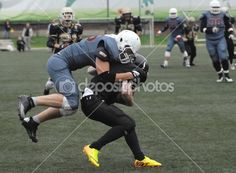 Zurab Shtankidze (95) in action. American football stock photo