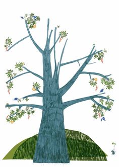 """Summer Tree Poster. It is an """"unfinished"""" work inviting the child to finish the picture. The child is encouraged to fill in the empty spaces with his own drawings!"""