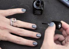 Chanel gray glitter nail polish bridal look