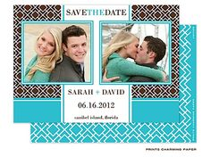 Turquoise and Brown Lattice Save the Date Digital Photo Card