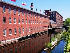 Textile mills such as the Boott Mills in Lowell made Massachusetts a leader in the US industrial revolution.