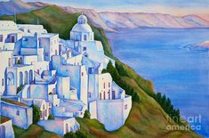 Santorini Greece Painting - Santorini Greece Watercolor by Michelle Wiarda