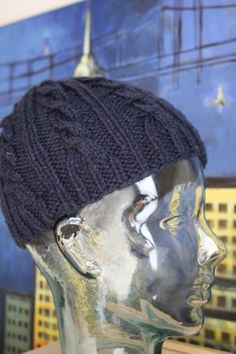 Hand Knit Cable Beanie in Navy Blue by LilRedKnittingHood on Etsy, $17.00