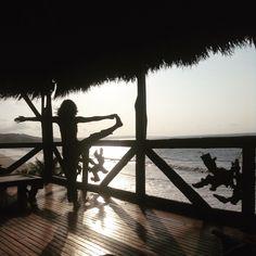 Yoga & sunset & the beach at El Acantilado Hostería. Same, Ecuador