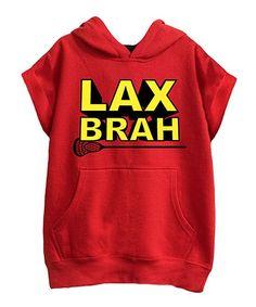 Red & Black 'LAX Brah' Cutoff Hoodie - Kids