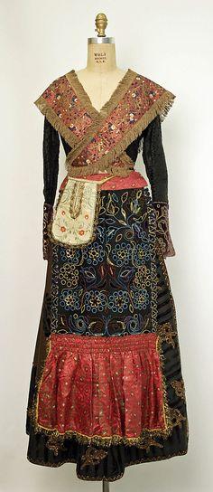 Embroidered ensemble (skirt, bodice, apron, peplum, pocket, kerchief, fichu) with fringe trim, Spanish, late 19th C.