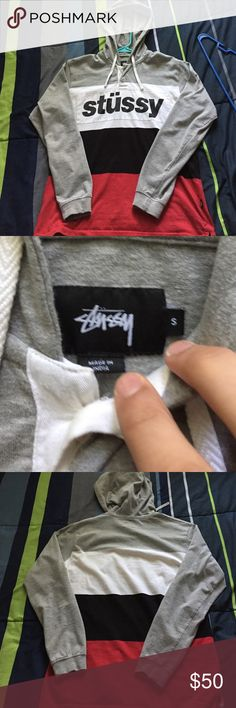Study multicolored rugby hooded pull over Stüssy multicolored pull over never worn Stussy Sweaters
