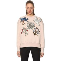 Alexander Mcqueen Women Cotton Sweatshirt W/ Embroidered Patches ($1,575) ❤ liked on Polyvore featuring tops, hoodies, sweatshirts, marble, marble top, cotton sweatshirts, crew neck sweatshirts, pink crewneck sweatshirt and alexander mcqueen