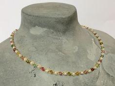Neues Design Außergewöhnlich!Turmalin & Perlen Collier  585/-Gold Zertifikat ��