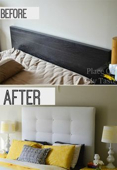 Before and After IKEA Hack DIY Headboard... This is perfect since that's the bed we already have (and are are sick of!!)
