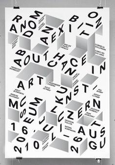 exhibition poster design Random poster designed by Felix Pfffli Type OnlyUnit Editions Poster Design, Graphic Design Posters, Graphic Design Typography, Graphic Design Illustration, Typo Design, 3d Typography, Hand Lettering, Typo Poster, Typographic Poster