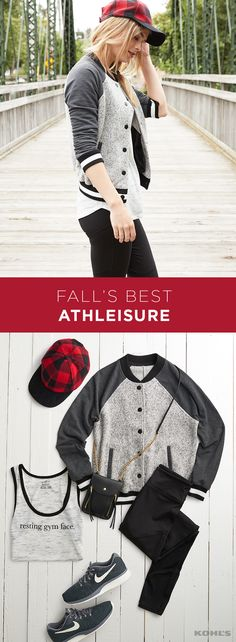 Cozy fall days are here again. And, with them, the cozy athleisure gear we spend them in. Give yours a taste of street style this year with a trendy buffalo-check cap and varsity jacket layered on top of your go-to leggings and sneakers. Shop the look at Kohl's.