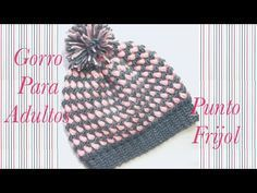 Crochet Bean stitch adult beanie hat in two colors easy to make Welcome to my channel Crochet for Baby. In todays tutorial I will show you how to do this fast and easy crochet adult beanie hat using the bean stitch in two colors as our main stitch. Easy Crochet Baby Hat, Crochet Adult Hat, Crochet Hat For Women, Crochet Beanie Hat, Crochet Braids, Crochet Yarn, Crochet Stitches, Kids Crochet, Newborn Crochet