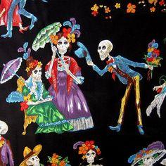 Paseo de los Muertos Alexander Henry Skull by BluePacificFabrics, $10.50