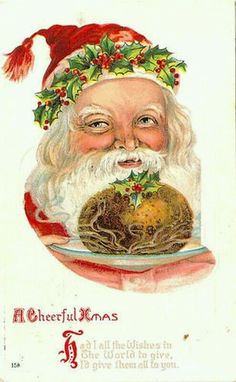 Old World Santa with Christmas Pudding Image - The Graphics Fairy Vintage Christmas Photos, Victorian Christmas, Primitive Christmas, Retro Christmas, Country Christmas, Vintage Postcards, Vintage Images, Vintage Cards, History Of Santa Claus