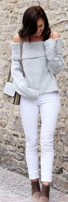 Never enough off shoulder sweaters (and under $30!), with the most flattering high-waisted white jeans under $60!