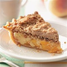 Sour Cream Peach Pecan Pie Recipe -Fresh peaches, good Southern pecans and real vanilla make this pie a special summertime treat. —Sherrell Dikes, Holiday Island, Arkansas