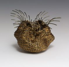 Bronze tipped with Peridot Sculptural Vessel wire crochet