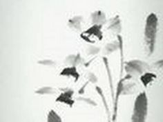 Narcisus sumi-e painting (at the begining they look like a mess then turns into something so delicate) Japanese Painting, Chinese Painting, Sumi E Painting, Tinta China, Chinese Brush, Muse Art, Painting Videos, Art Tips, Diy Art