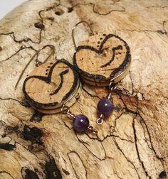 Valentines Day Purple Amethyst Wine Cork Hand burnt Heart Dangle Earrings by JujusNature on Etsy