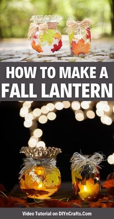 Create a stunning rustic fall leaf upcycled jar lanterns display using simple supplies you already have on hand an old globe from a light! This easy upcycled fall decoration is a great choice for a fun weekend craft. This fall lantern is sure to look great throughout autumn. #FallLantern #UpcycledJar #UpcycledCraft #Lanterns #FallDecor #FallDecoration #HomeDecor