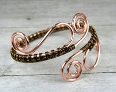 Copper Wire Weave Bracelet Wire Wrap Copper by BonzerBeads on Etsy