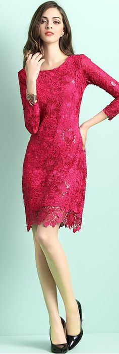 fca87226cc9 Rose Red Round Neck Crochet Dress Lace Midi Dress