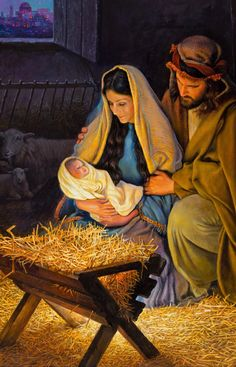 The Holy Family Art Print By Greg Olsen Jesus Art Print Featuring The Painting The Holy Family By Greg Olsen Jesus Art, Jesus Christ, Savior, Greg Olsen Art, Nativity Scene Pictures, Nativity Painting, Birth Of Jesus, Christmas Scenes, Christian Art