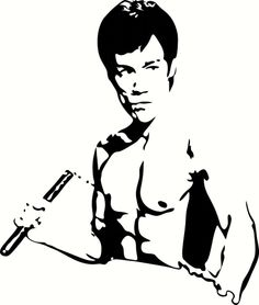 "Bruce Lee Universal Vinyl Cut Out Decal, Sticker in WHT - 11"" by 13"""